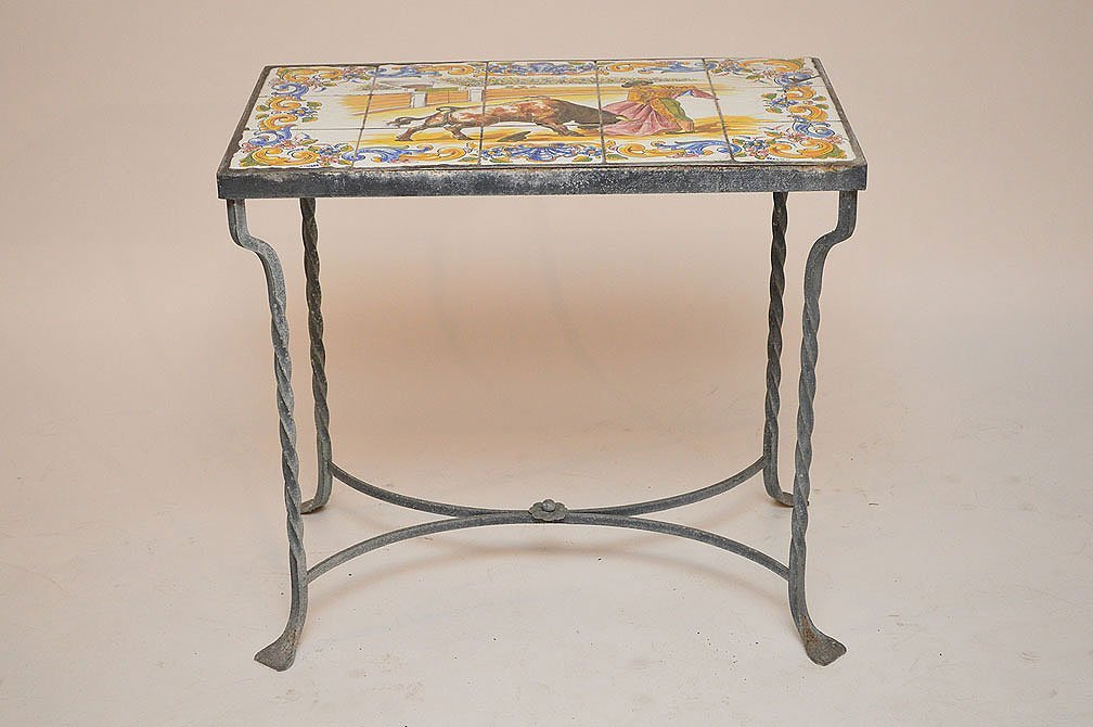 Vintage tile top patio table on wrought iron base
