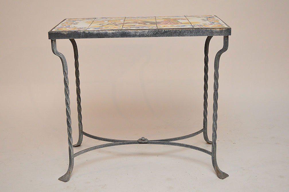 Vintage tile top patio table on wrought iron base - 2