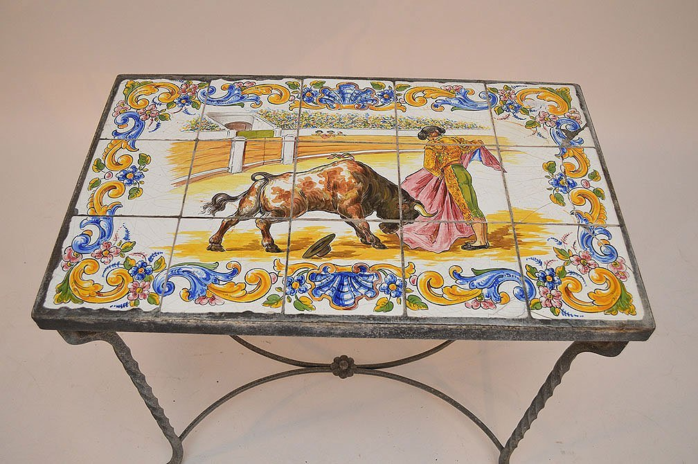 Vintage tile top patio table on wrought iron base - 3