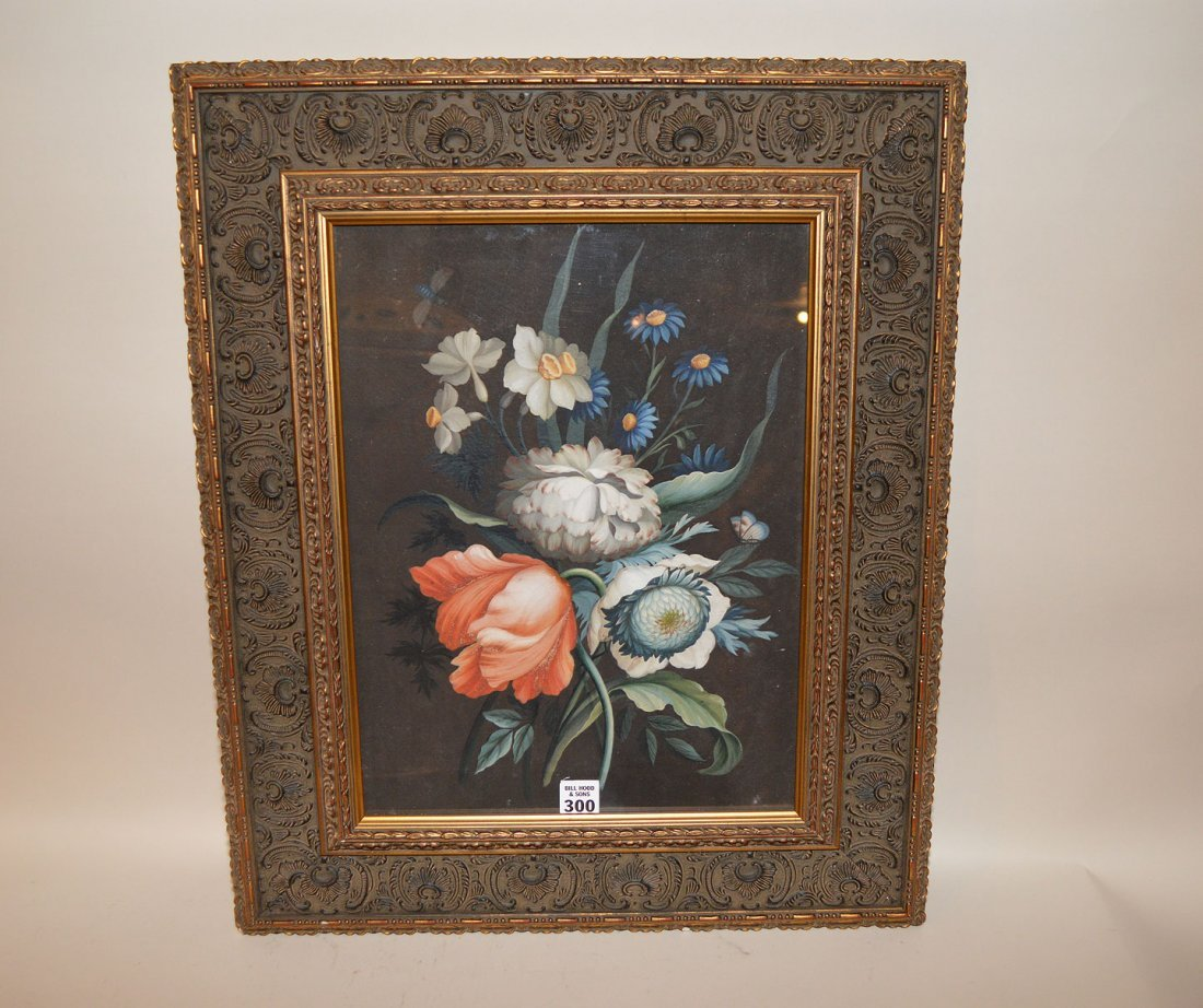 """Old master gouache, signed w/ initials """"G.H."""" and dated"""