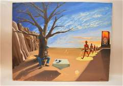 A.F.Clarke 1974 oil on canvas, Surreal Modern Painting,