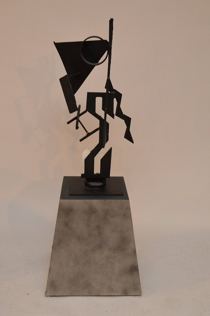 """Modern Iron Sculpture signed Uldall, 34"""" tall on custom"""