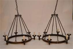 Pair iron 6 light chandelier from Gulf Stream country