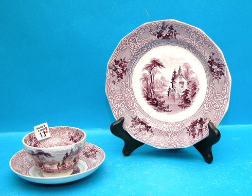 13: 3-piece Mulberry cup, saucer and plate, transfer wa