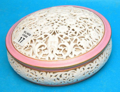 17: Royal Worcester reticulated covered bonbon bowl, 6