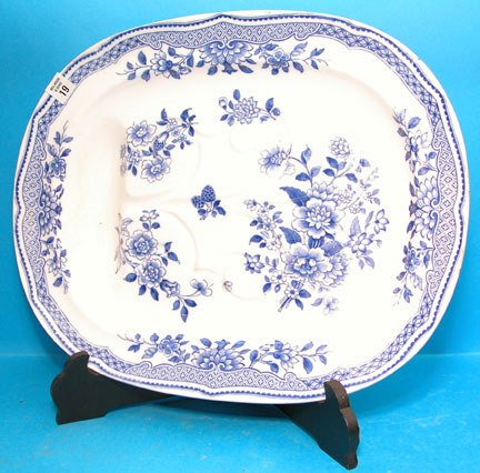 """19: Masons blue and white well and tree platter, 19""""l x"""