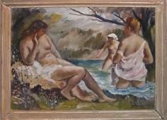 110G: Vukovic Russian oil painting three nudes