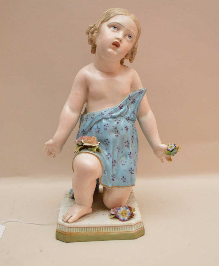 Large Meissen Porcelain Figure depicting a young girl.