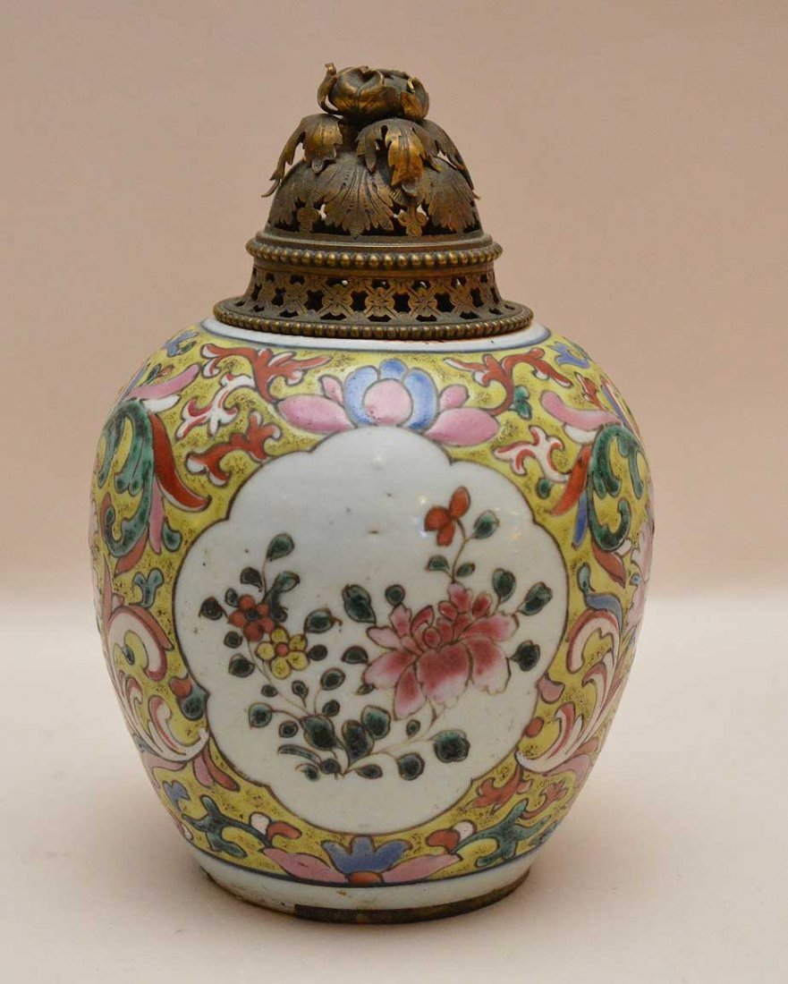 Chinese Export Incense Burner with bronze lid.  With