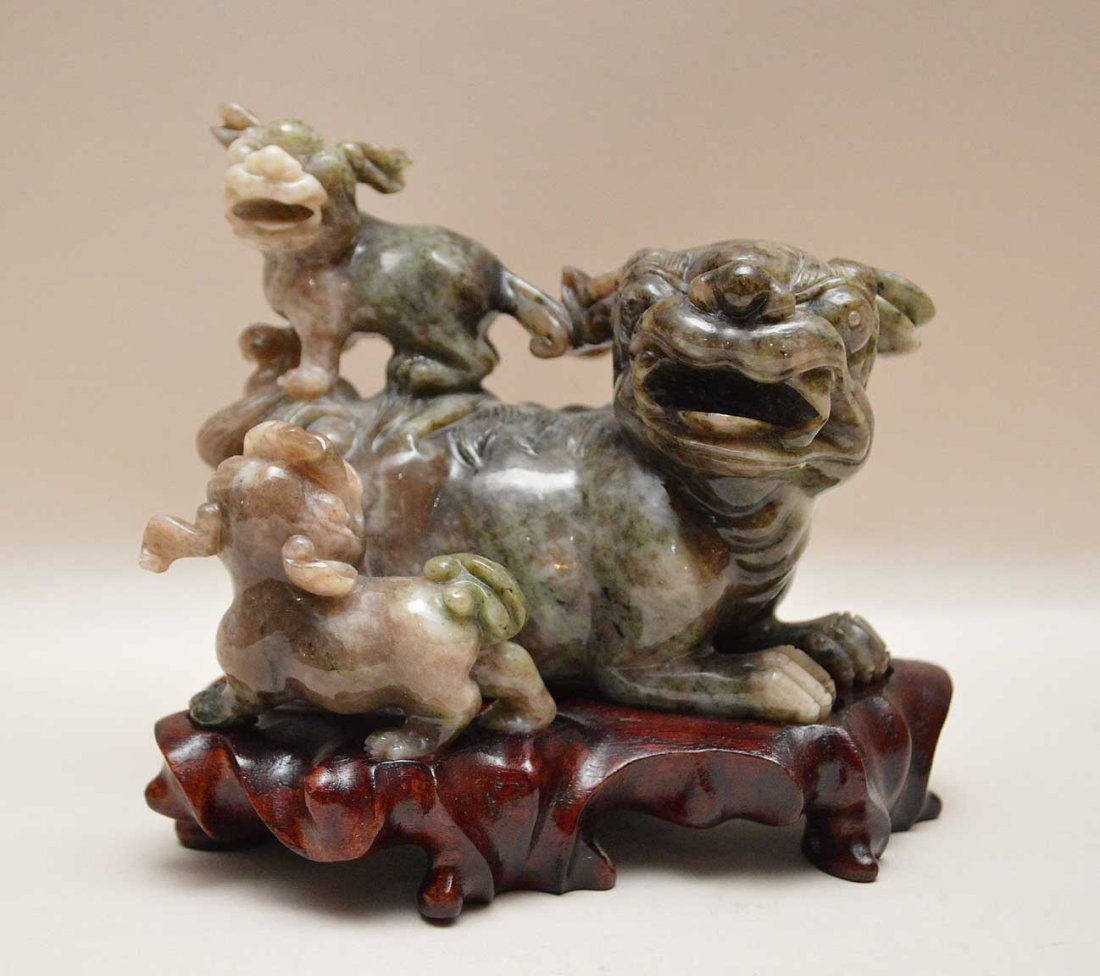 Chinese Jade Carving Depicting Three Foo Dogs on a