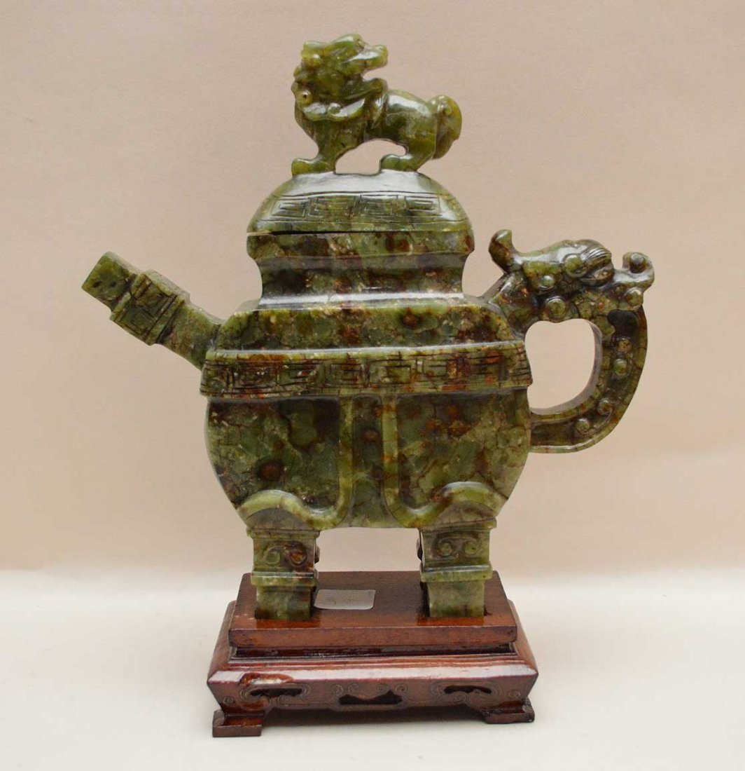Chinese Spinach Jade Tea Pot On Carved Wood Base.  Ht.