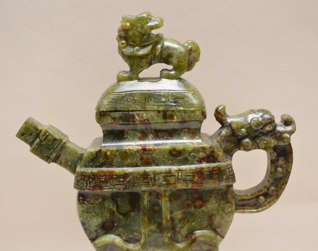Chinese Spinach Jade Tea Pot On Carved Wood Base.  Ht. - 2