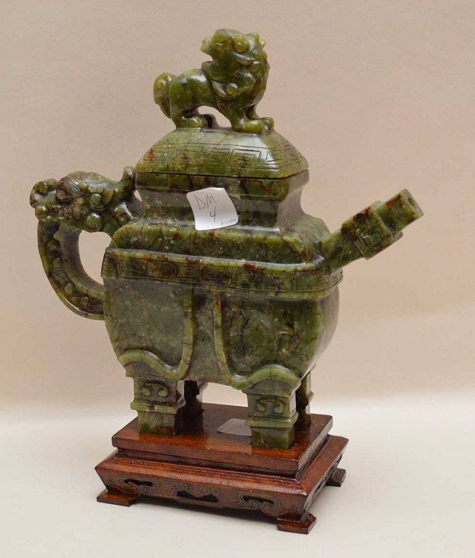 Chinese Spinach Jade Tea Pot On Carved Wood Base.  Ht. - 3