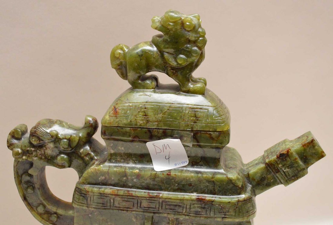 Chinese Spinach Jade Tea Pot On Carved Wood Base.  Ht. - 4