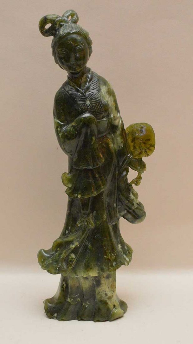 "Chinese Jade Quan Yin Carving.  Ht. 12 3/4"""