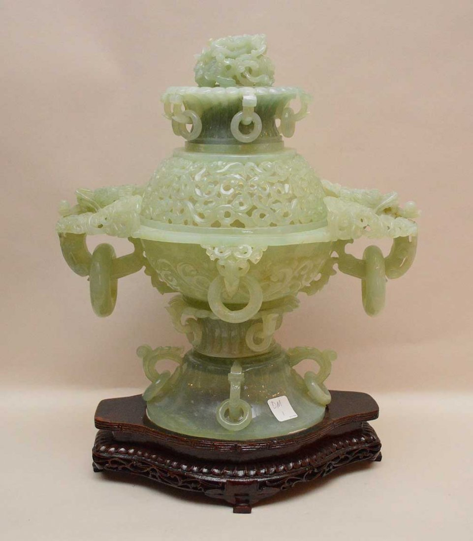Large Carved Jade Censor with pierced dome and foo dog