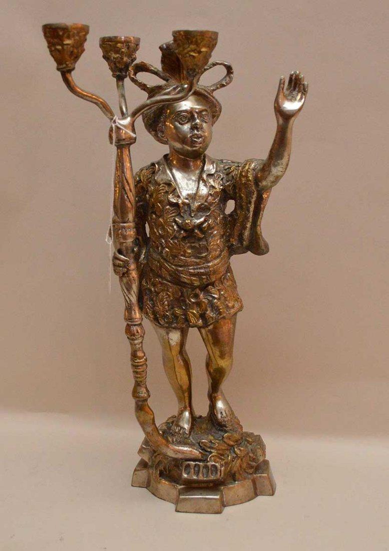 "Silvered Bronze Blackamoor Candelabra.  Ht. 16"""