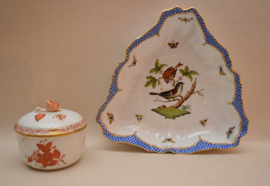Two Pieces Herend Porcelain. One Triangular Bowl Lth. 9