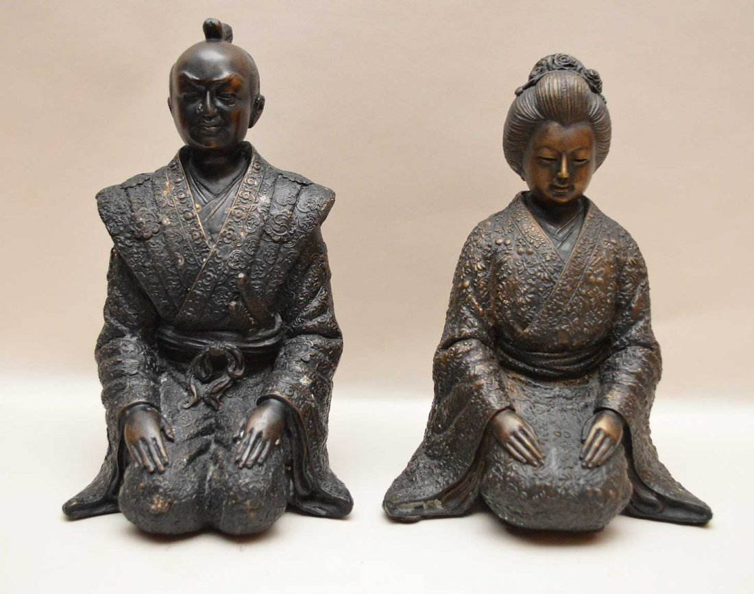 "Chinese Bronze Emperor & Empress.  Ht. 10 3/4"""
