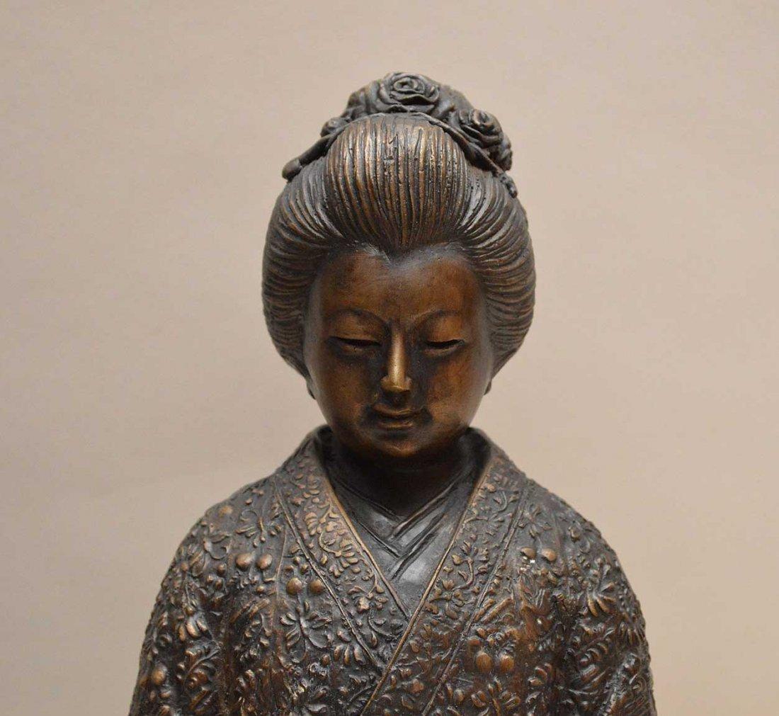 "Chinese Bronze Emperor & Empress.  Ht. 10 3/4"" - 3"