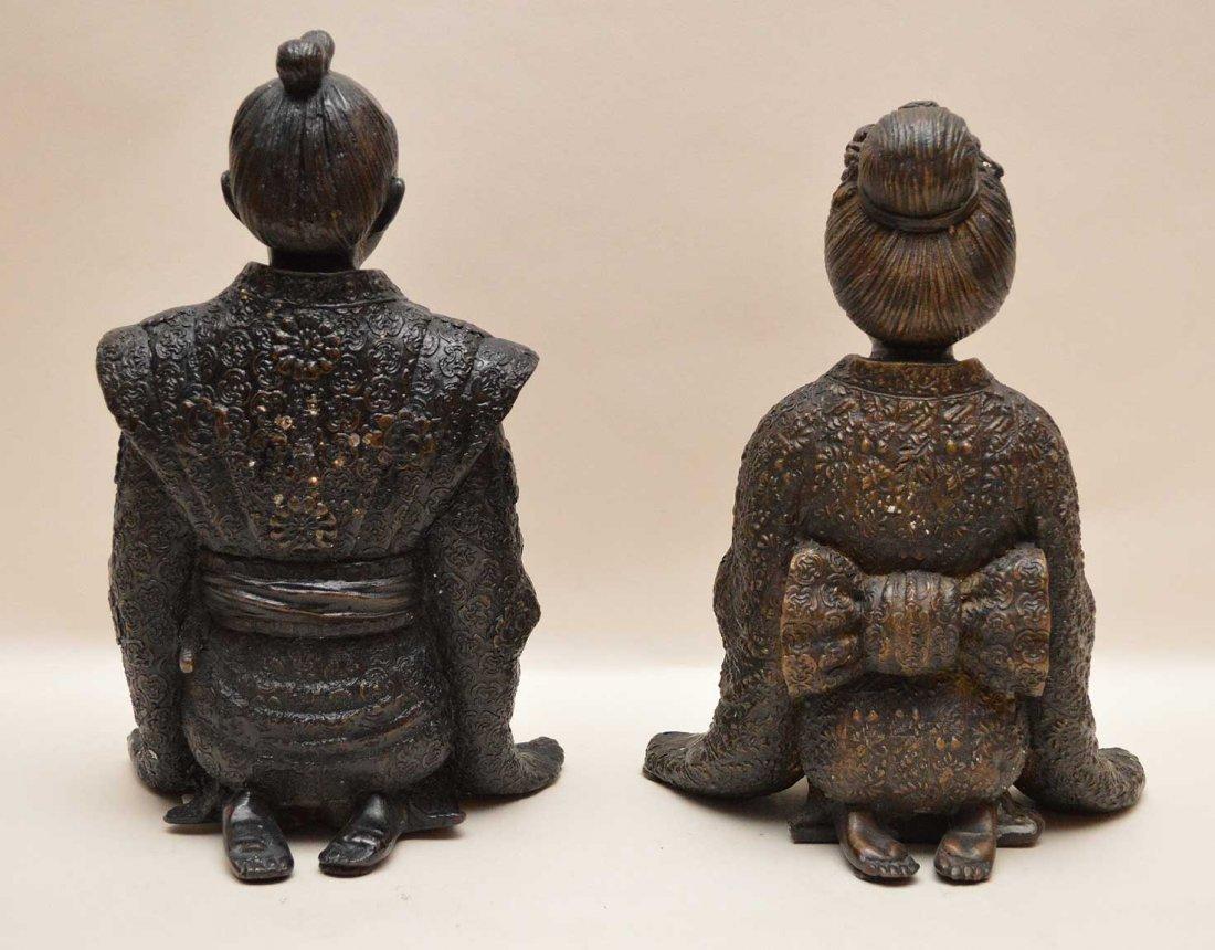 "Chinese Bronze Emperor & Empress.  Ht. 10 3/4"" - 5"