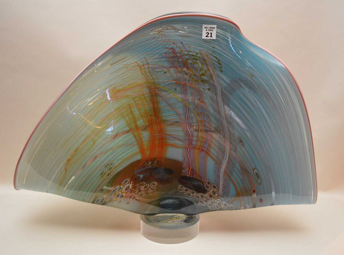 Large Art Glass Sculpture with a clam form and nautical