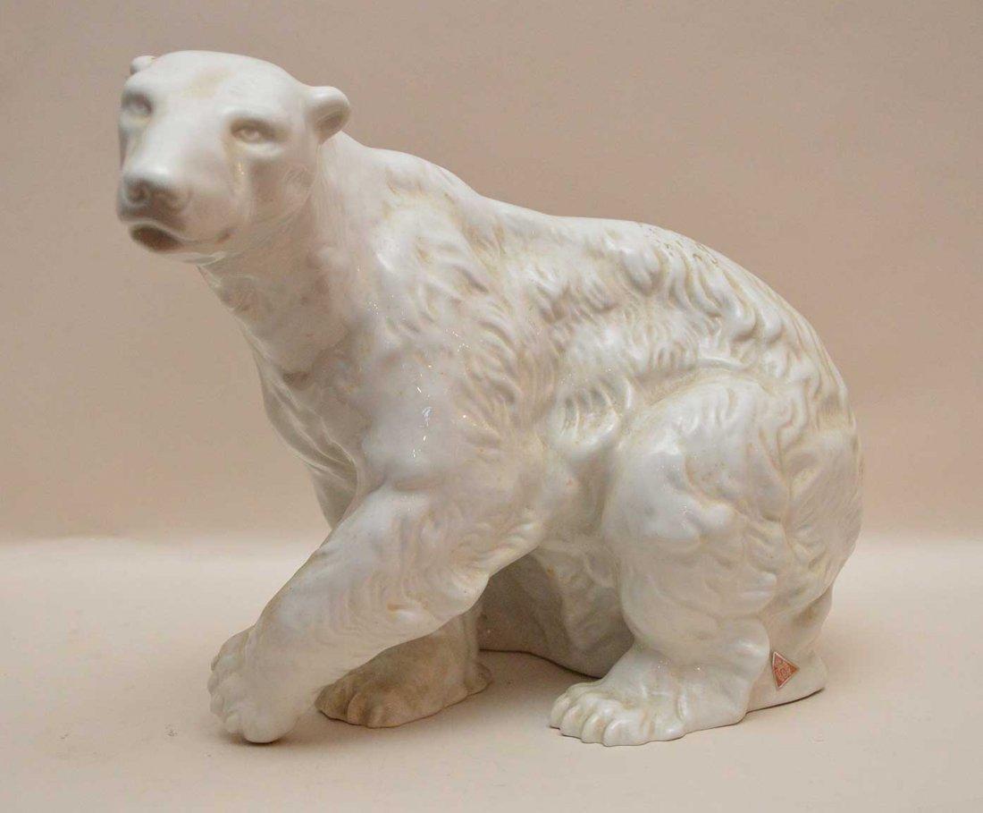 Large Royal Dux Polar Bear Porcelain Figure.  Ht. 9
