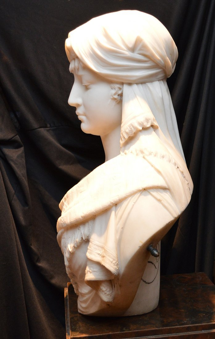 "Antonio Frilli Marble Bust Of A Young Woman.  Ht. 27"" - 10"