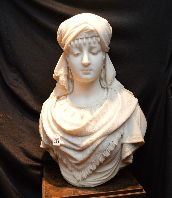 """Antonio Frilli Marble Bust Of A Young Woman.  Ht. 27"""""""