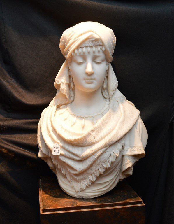 "Antonio Frilli Marble Bust Of A Young Woman.  Ht. 27"" - 2"