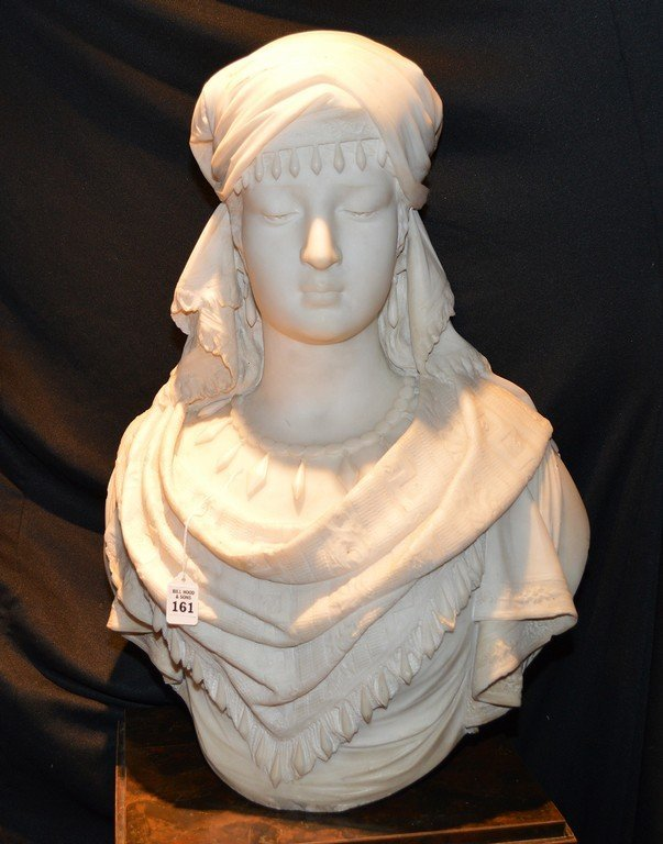 "Antonio Frilli Marble Bust Of A Young Woman.  Ht. 27"" - 4"