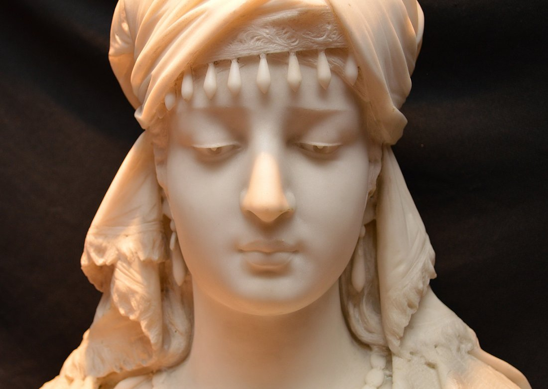 "Antonio Frilli Marble Bust Of A Young Woman.  Ht. 27"" - 5"