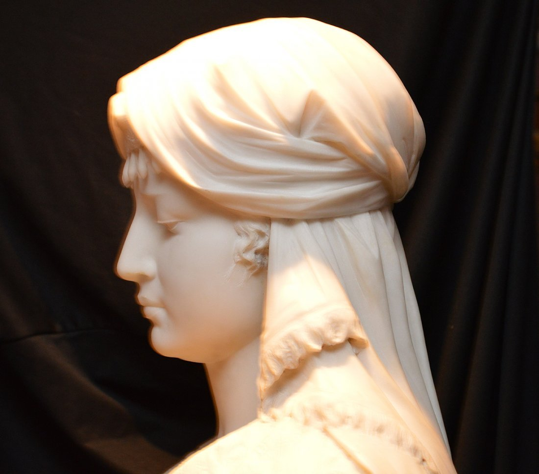 "Antonio Frilli Marble Bust Of A Young Woman.  Ht. 27"" - 9"