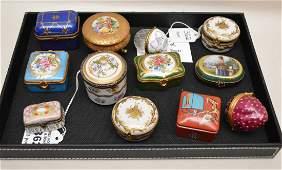 Lot 12 Assorted Limoges Porcelain Boxes. Largest Lth 3