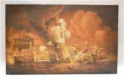 Antique Maritime painting oil on copper, ships at sea,