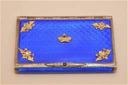 Russian Silver & Enamel royal blue case with diamond &
