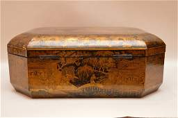 Chinese export black lacquer sewing box, 19th c, hinged