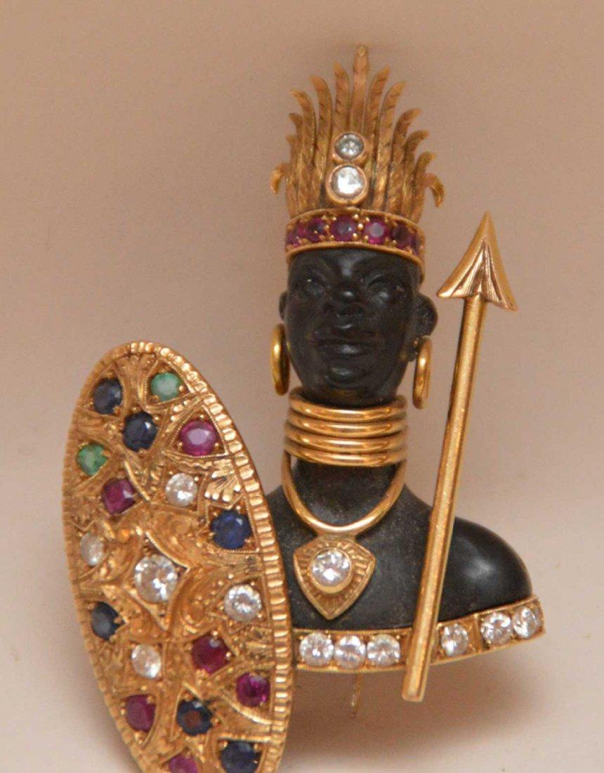 Nardi Blackamoor 18K Gold Brooch with diamonds,