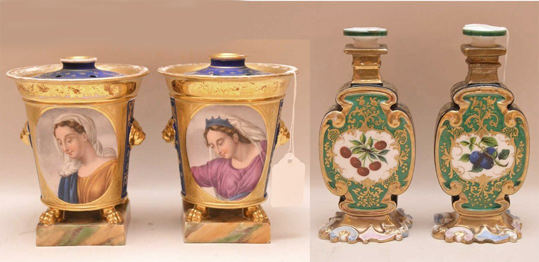 4 Pcs 19th Century French Porcelain.  Pair Urns With