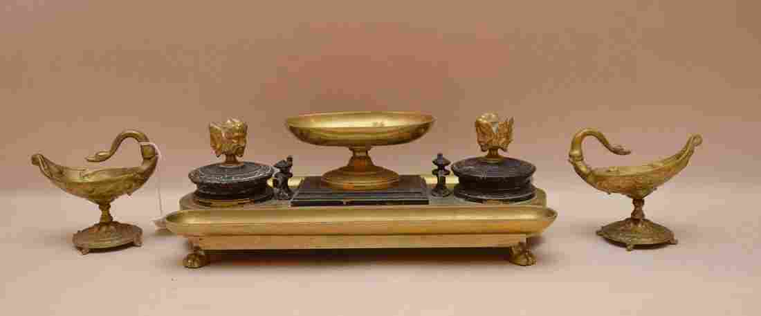 """Antique Bronze Inkwell Lth 14"""".  Together with two"""