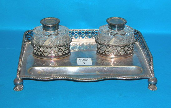 1001: Silverplate and cut glass footed and reticulated