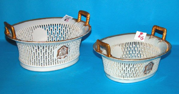 1006: (2) 18th century reticulated porcelain baskets, a
