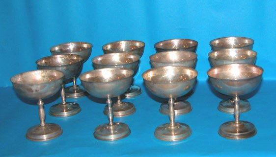 "1011: 12 Mexican sterling sherbets, 4 1/4""h x 4"" diamet"