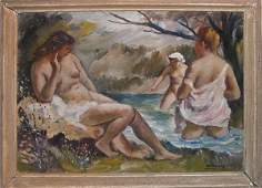 """1127: Vukovic, Russian, oil on canvas laid on board, """"T"""