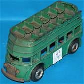 """1147H: """"Arcade Toy"""" green double decker iron bus"""