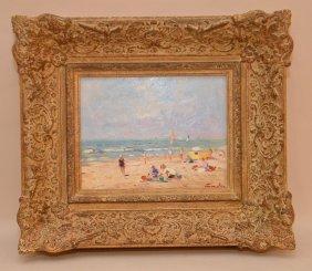 "Niek Van Der Plas, (dutch, B. 1954), ""beach Scene, Oil"