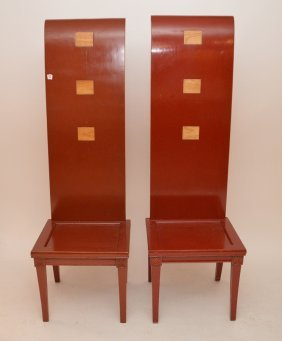 "Pair Red Lacquered Emperor And Empress Chairs, 67""h"