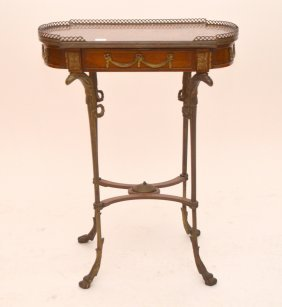 Diminutive Marquetry Side Table With Bronze Mounts,
