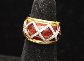 Ring With Red Enameling And Diamonds