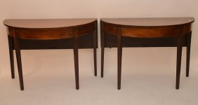 Pair Mahogany 19th C. Demi Lune Tables With One Side